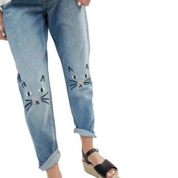 [globalbuy] Women cute embroidery cartoon cat Jeans Denim pants loose trousers female casu/4197275