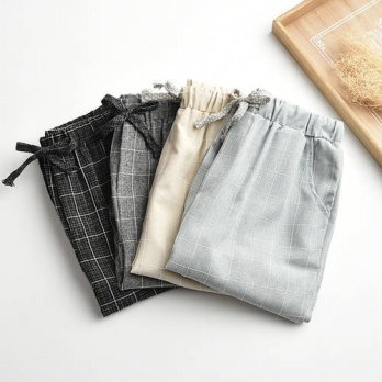 [globalbuy] Updated Linen linen pants elastic waist wide leg pants casual pants straight p/4197351