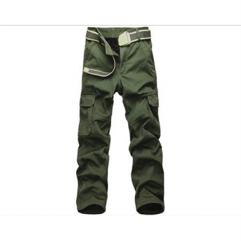 [globalbuy] Men Plus Size Velvet Thick Warm Overalls Cargo Tactical Commandos Leisure Loos/4203047