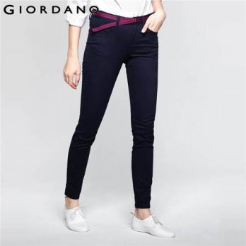 [globalbuy] Giordano Women Pants Slim Fit Trousers Solid Cotton Stretchy Twill Pants Woman/4197328