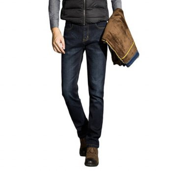 [globalbuy] Men Slim Trousers Mens Charm Jeans Comfort Jeans Winter Warmer Jeans Sizes 44/4203026