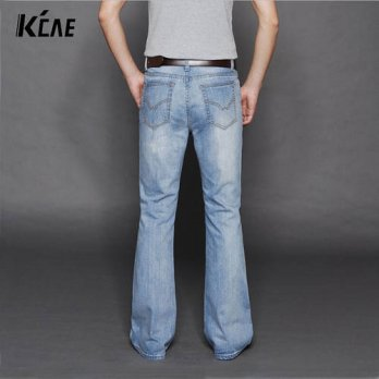 [globalbuy] New arrival 2016 Brand mens flared jeans mens bell bottom denim male big horn /4202190