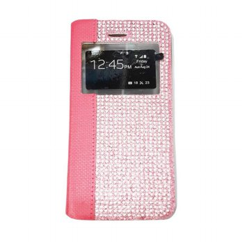 Flipcase Diamond Samsung Core G350 Plus Swarosky Bling Flipshel Flip Cover Case Leather Pink