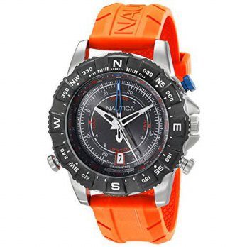 [macyskorea] Nautica Mens NAD20008G NSR 103 Stainless Steel Watch with Orange Rubber Band/13064860