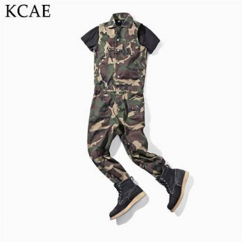 [globalbuy] 2016 New Arrival One Piece Long Jumpsuit sleeveless Men Fashion Cotton Overall/4202179
