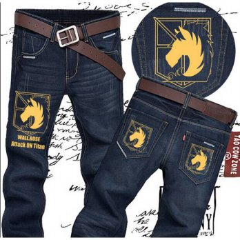 [globalbuy] FTWL anime jeans men attack on titan straight casual pants legions brand new a/4202173
