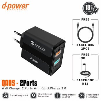 [POP UP] dpower QA05 Wall Charger 2 Port Qualcomm QC 3.0 Fast Charging