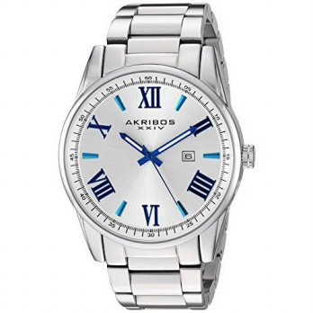 [macyskorea] Akribos XXIV Mens Quartz Silver-Tone Case with Blue Accented White Dial on Si/13042590