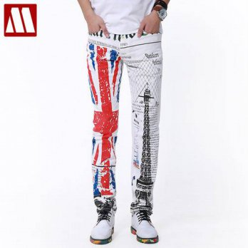 [globalbuy] Top Punk Style  2016 New Yuppie Jeans for Male leisure mens brand designer ret/4202143