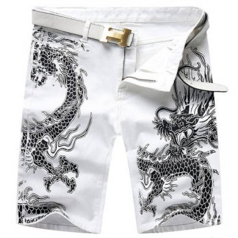 [globalbuy] Mens fashion summer dragon print jeans Casual slim white stretch knee length d/4202130