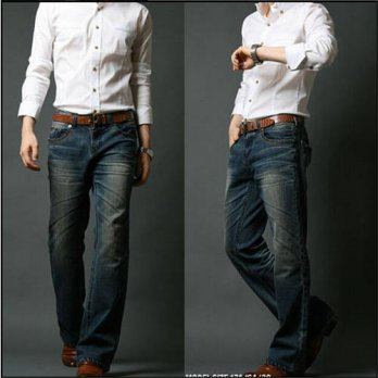 [globalbuy] Mens Flared Jeans Boot Cut Leg Flared Elastic Slim Fit Mid Waist Male Designer/4202113