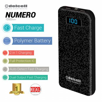 Delcell NUMERO Powerbank 10500 mAh Real Capacity - Black