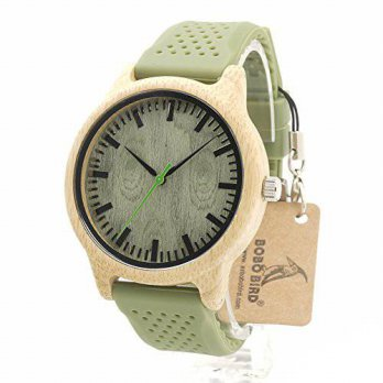 [macyskorea] BOBO BIRD R03 Womens Green Silicone Band Green Dial Bamboo Quartz Watch/16133920