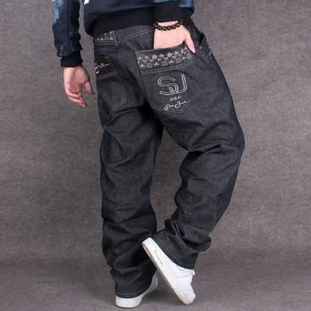 [globalbuy] Black Baggy Jeans Men Hip Hop Streetwear Skateboarder Denim Pants Mens Loose F/4202111