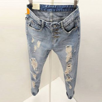[globalbuy] Ripped Jeans Woman 2016 New Fashion Summer Loose Holes Denim Harem Pants Boyfr/4196511