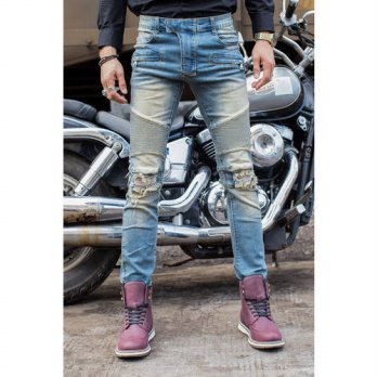 [globalbuy] Biker Jeans Men Slim Elastic Skinny Straight Mens Jeans With Holes Ripped Patc/4202107