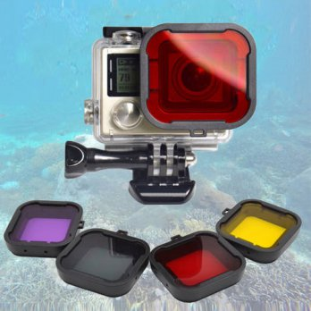 [globalbuy] Hot GoPro Accessories 4pcs Colorful Diving Filters(Red+Yellow+Purple+Gary) in /3687474