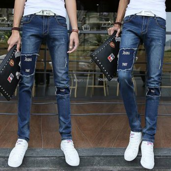 [globalbuy] Famous Designer Brand Slim Fit Destroyed Torn Jean Pants Hot Sell Ripped Jeans/4202085
