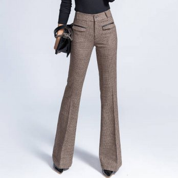 [globalbuy] 2016 Vintage Womens Thick Warm Trousers Winter Pants Fashion Slim Wool Wide Le/4196470