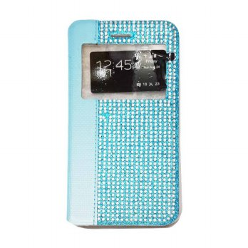 Flipcase Diamond Oppo R1S R8007 Swarosky Bling Flipshel Flip Cover Case Leather Biru Muda
