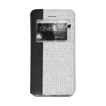 Flipcase Diamond Oppo Joy R1001 Swarosky Bling Flipshel Flip Cover Case Leather Hitam