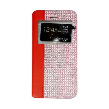 Flipcase Diamond Oppo Joy R1001 Swarosky Bling Flipshel Flip Cover Case Leather Merah