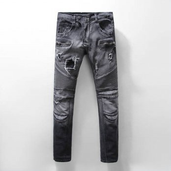 [globalbuy] Free DHL 2016 New Top Quality BP Jeans Men Deep Gray Holes Pacth SKinny Pants /4202075