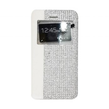 Flipcase Diamond Oppo R1S R8007 Swarosky Bling Flipshel Flip Cover Case Leather Abu-Abu