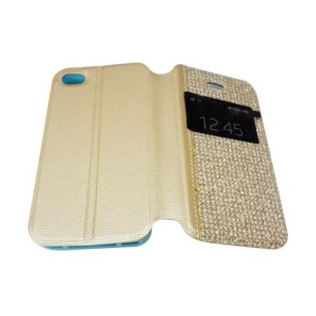 Flipcase Diamond Oppo R1S R8007 Swarosky Bling Flipshel Flip Cover Case Leather Gold