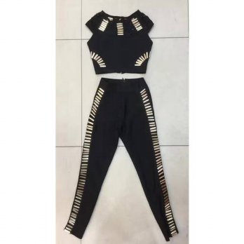 [globalbuy] 2016 new arrival black beaded embellished full length hollow out two piece set/4196457