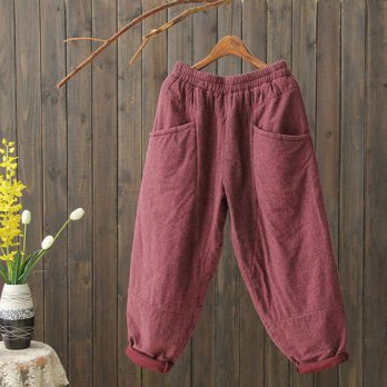 [globalbuy] Women pants big size thick Female autumn and winter elastic waist loose warm t/4196438