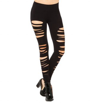 [globalbuy] Fashion summer style Ladies Female Ripped Hole Punk Cut-out Gothic pants Tight/4196415