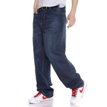 [globalbuy] 2016 Hot Sell hip hop blue men jeans baggy european style denim jeans for men /4202038