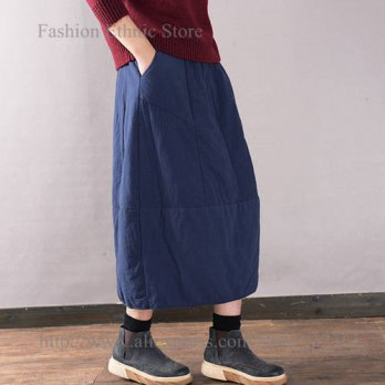 [globalbuy] Vintage Solid Color Splice a line Long Skirt Autunm Winter Elastic Wasit Women/4196423