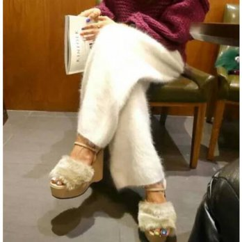 [globalbuy] Custom Plush mink cashmere trousers wide leg pants wearing Maoku thickening p1/4196403