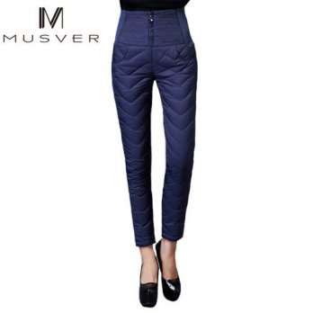[globalbuy] MUSVER Women Down Pants 2016 Winter Plus Size High Waist Solid Down Warm For L/4196388