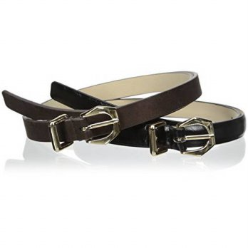 [macyskorea] Steve Madden Womens Glazed and Faux Suede Two-For-One Belt, Black/Brown, Smal/14479939