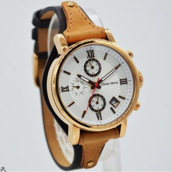 Jam Tangan New Christ Verra 71054L-25 Rosegold Leather Brown Original 100%