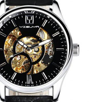 [macyskorea] YISUYA Mens Black Skeleton Hand-wind Automatic Mechanical Watches with Genuin/16133987