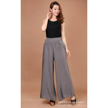 [globalbuy] 2015 Oversized Wide Leg Pants Woven Elastic Waist Culotte Loose Full Length Mi/4196332
