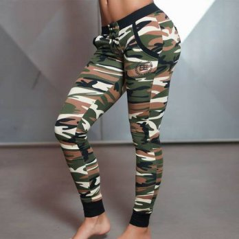 [globalbuy] Fitness Women Sexy Camouflage Pants Full Length Stretch Gyms Trousers Workout /4196384