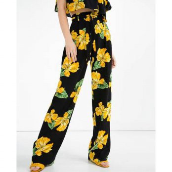 [globalbuy] 2016 New Women Brand Vintage Elegant Flower Print Loose Wide leg pants Long Tr/4196343