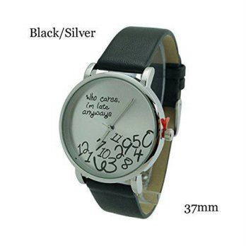 [macyskorea] Vavna Fashion Geneva Platinum Who Cares Im Late Anyways Leather Watch Black //16133994