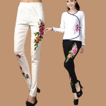 [globalbuy] 2016 New Fashion Casual Pants Embroidered Casual Flower Skinny Trousers White /4196300