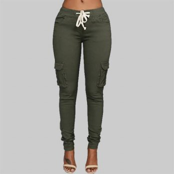 [globalbuy] 2016 New pants High stretch ladies pencil pants Women Casual Pants Waist Draws/4196277