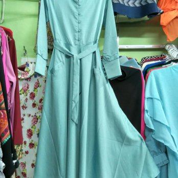 Dress katun longdress wanita muslim