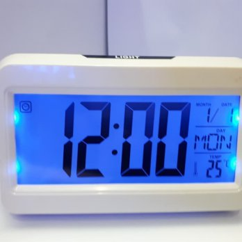 Jam Meja Digital Alarm Voice Control Back Light LCD Clock