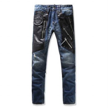 [globalbuy] Fashion mens clothing patchwork motorcycle jeans male slim straight zipper vin/4201424