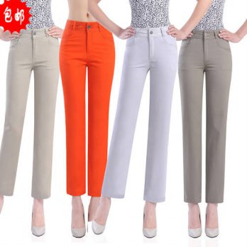 [globalbuy] Spring and summer Women Candy Color high waist elastic ankle length trousers f/4195672