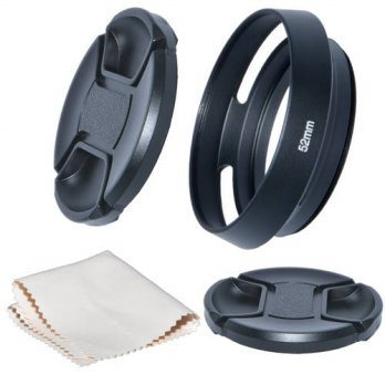 [globalbuy] Just Now 52mm Camera Tilted Vented Metal Lens Hood+Cleaning Cloth+2pcs Lens Ca/3686935